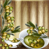 Close up vector background with olives branch and olive oil on w Stock Photography
