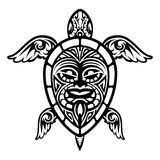 Close up Vector Turtle Polynesian Tattoo royalty free illustration