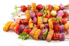 Vegetable barbecue skewer. Close up on vegetable barbecue skewer Royalty Free Stock Image