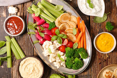 Vegetable and dips Stock Photo