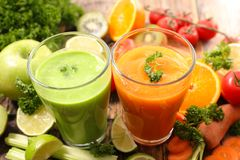 Vegetable juice, smoothie. Close up on vegetable juice, smoothie Royalty Free Stock Photos