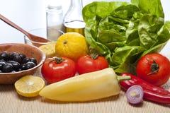 Close-up vegetables. Fresh vegetables ready for salad preparation Stock Images