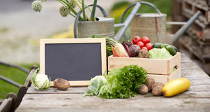 Close up of vegetables with chalkboard on farm Stock Photos
