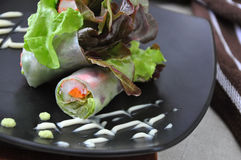 Close up Vegetables and Crab Stick Rolls Royalty Free Stock Image