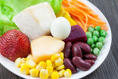 Close up vegetables and fruit salad Royalty Free Stock Photography