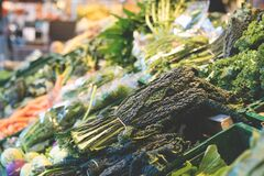 Close-up of Vegetables in Market stock image