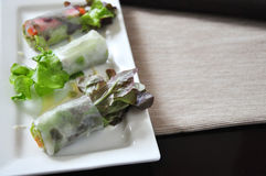 Close up Vegetables Rolls on Plate Stock Images