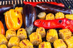 Close-up of Vegetarian barbecue and cobs corn on Stock Photography