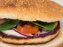 Close-up of a vegetarian halloumi burger. stock photo