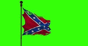Close up velho rasgado do grunge do rasgo de acenar a bandeira confederada da animação dos estados nacionais de América nós, text video estoque