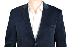 Close-up velvet navy blue suit coat for men, isolated on white. Stock Photography