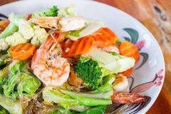 Close up vermicelli fried with vegetable and seafood. Royalty Free Stock Photo