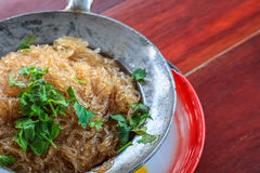 Close up vermicelli shrimps with glass noodles in the hot pot Stock Image