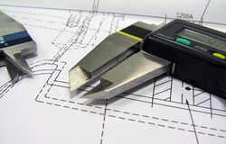 Close up of vernier calipers Stock Photography