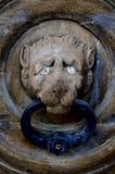 Old lion head door knob in Valletta,Malta. Close-up vertical photo of wooden old lion head door knob in Valleta,Malta Royalty Free Stock Photography