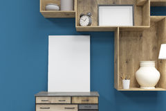 Close up of vertical poster on a set of drawers Royalty Free Stock Images