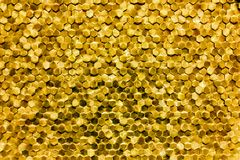 A close-up of a luxury golden wall decoration pattern Royalty Free Stock Image