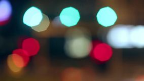 Close up of Very blurred semaphore lights. stock footage