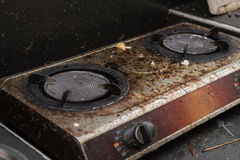 Close up of very dirty gas burner Stock Image