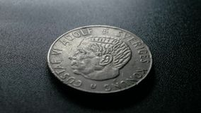 Close up of very old coins stock video