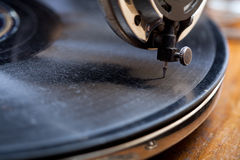 Close up of a very old gramophone. Using shallow depth of field Royalty Free Stock Image