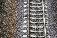 Close up vew of railroad track. Stock Photos