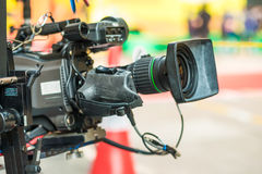 Close up of video camera on crain royalty free stock image