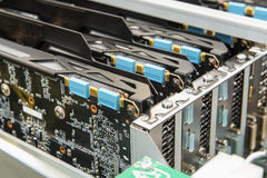 Close-up of video cards in electronics industry Royalty Free Stock Photo
