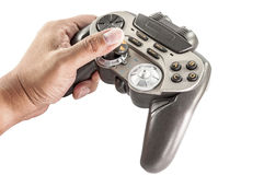 Close up of video game controller in hand isolated : clipping path. Royalty Free Stock Image