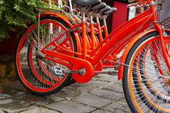 Close up vietnames red bicycle Royalty Free Stock Photo