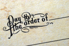 "Close-up view of ""Pay To The Order Of"" Stock Image"