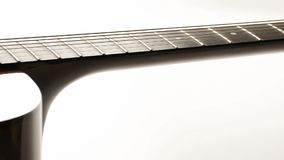 Close up view acoustic guitar dolly motion stock footage