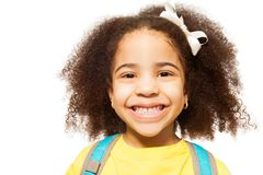 Close-up view of African girl in yellow T-shirt Stock Images