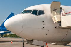 Close-up view of aircraft at the airport Royalty Free Stock Photo