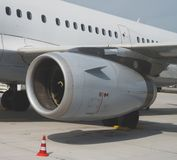 Reaction engine. Close-up view of aircraft reaction engine Royalty Free Stock Photo