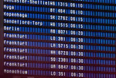 Close up view of airport time-table Royalty Free Stock Photo