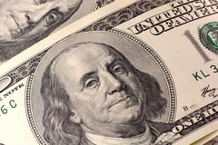 Close up view of american dollar banknote Stock Images