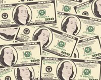 Close up view of American hundred dollar bills. Money background for your business concept. Suitable for wallpaper, backdrop, as element of design. Vector Stock Photos