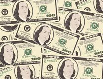 Close up view of American hundred dollar bills. Money background for your business concept. Suitable for wallpaper, backdrop, as element of design Stock Image