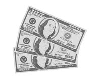 Close up view of American hundred dollar bills in monochrome, black and white variant. Close up view of American hundred dollar bills. USA currency in retro vector illustration
