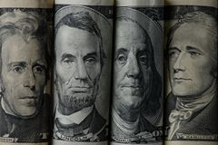 Close up view of american presidents. On dollar banknotes stock images
