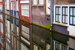 Close up view of Amsterdam houses and a canal Royalty Free Stock Photography