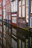 Close up view of Amsterdam houses and a canal Stock Photo