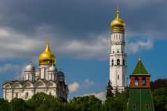 Archangel cathedral and Ivan the Great bell tower of Moscow Krem Stock Photos