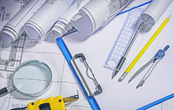 Close up view on architect tools Stock Photos