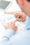 Close up view of an architect working at office Royalty Free Stock Image