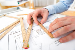 Close up view of an architect working at office Stock Photo