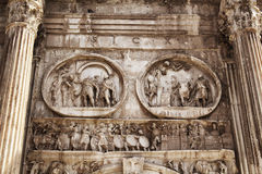 Close up view of Arco di Constantino. In Rome Stock Images