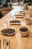 Close up view of arranged bowls with coffee beans and grind coffee for food function. On wooden tabletop Royalty Free Stock Photography