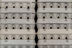 Close up view of arranged carton egg boxes Stock Image